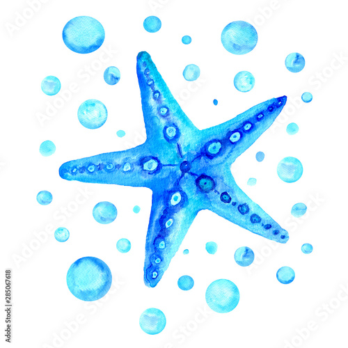 Fototapeta Watercolor turquoise  starfish with blue circles isolated on white background