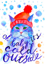 Watercolor Christmas Cat In Red Hat On White Background. Hand Painted Winter Illustration With Lettering.