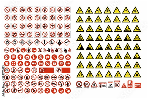 Fototapeta set of mandatory sign, hazard sign, prohibited sign, occupational safety and health signs, warning signboard, fire emergency sign. for sticker, posters, and other material printing. easy to modify.  obraz na płótnie