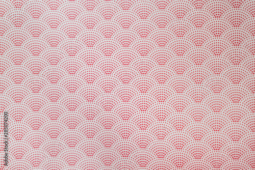 background of red japanese dotted style wave pattern teture Wallpaper Mural