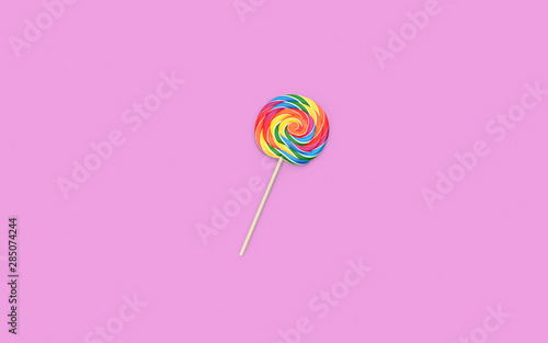 Lollipop On Pink Background with Copy Space Tableau sur Toile