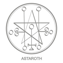 Vector Icon With Symbol Of Demon Astaroth. Sigil Of Demon Astaroth