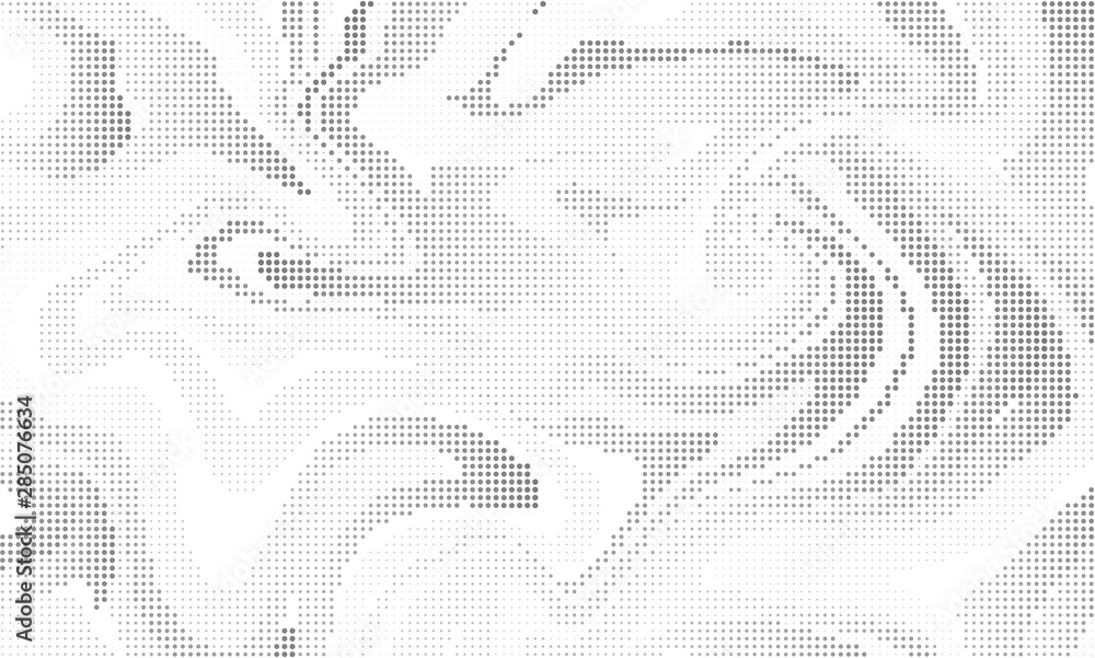 Fototapeta Halftone effect liquid background. Vector monochrome dotted abstract backdrop