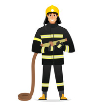 Smiling Firefighter, Man From Fire Brigade, Standing Full Face In Form Of Fireman, With Personal Protective Equipment, Bunker Or Turnout Gear. Vector Illustration