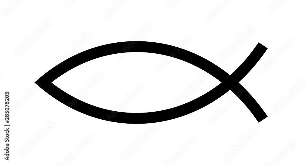 Fototapeta Christian fish symbol. Jesus fish icon religious sign. God Christ logo illustration