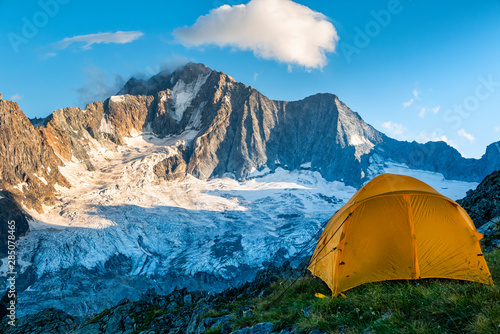 Hiking tent in the italian alps