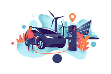 Electric Car Charging At Charger Station With A Young Man. Renewable Power Generation With Wind Turbines And Solar Panels And City Skyline. Isolated Vector Illustration Concept Grainy Shadow Style.