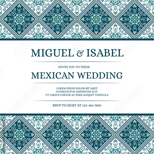 Fototapeta Traditional Mexican Wedding Invite Card Template Vector Vintage Mosaic Tile Pattern With Green Blue And Turquoise Texture Antique