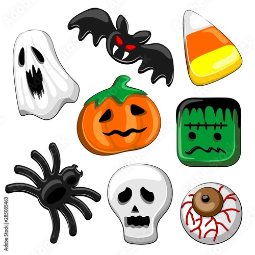 La pose en embrasure Draw Halloween Candies Set of 8 Vector elements isolated on White