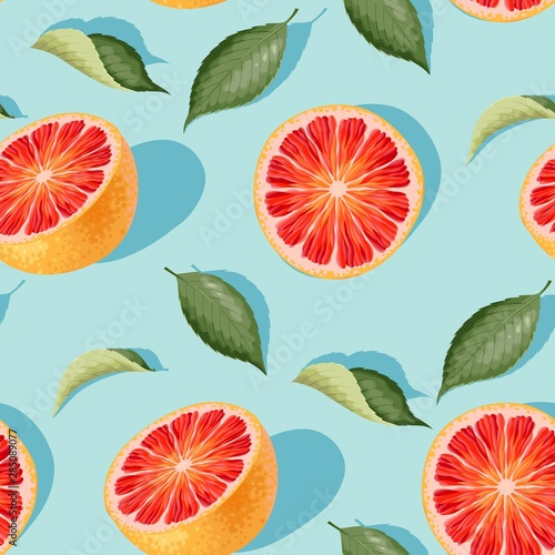 Fototapeta Seamless pattern with grapefruit slices and leaves