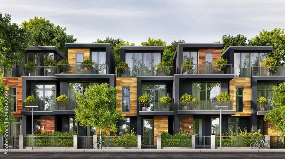 Fototapeta Beautiful townhouse in a modern style