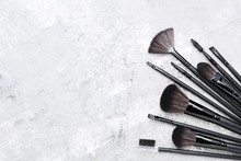 Set Of Makeup Brushes On Grey ...