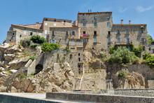 Medieval Hilltop Village Sartene In Corsica, France.