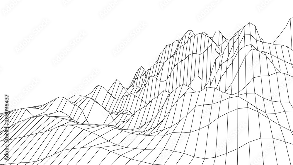 Fototapety, obrazy: Wireframe 3D landscape mountains. Wireframe landscape wire. Cyberspace grid. Vector illustration.