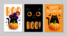 Vector Illustrations With Black Cat. Halloween Poster Designs With Symbols And Calligraphy. Funny Halloween Cards Set