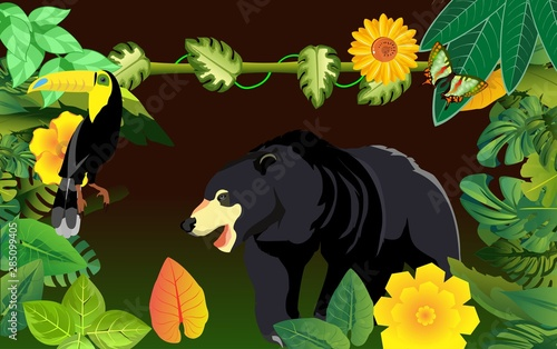 vector jungle theme illustration with black bear, exotic plants. toucan bird sits on the bush, Tropical floral frame with blue sky. Design template
