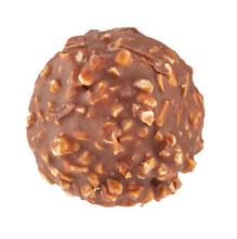 Beautiful Chocolate Candy Ball Shape With Filling And Nuts, Isolated On White Background. Full Sharpness Across The Entire Frame Field.