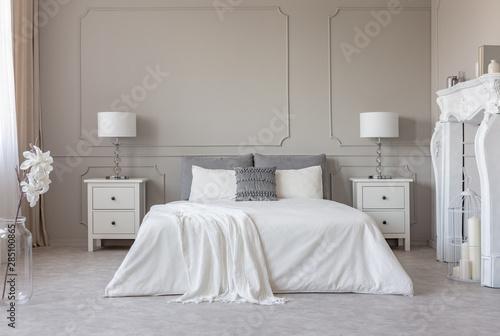 New york style bedroom interior with symmetric design, copy ...