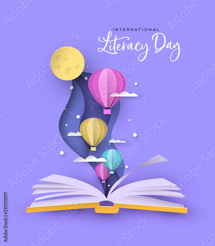 Fotografija Literacy Day open book papercut hot air balloon