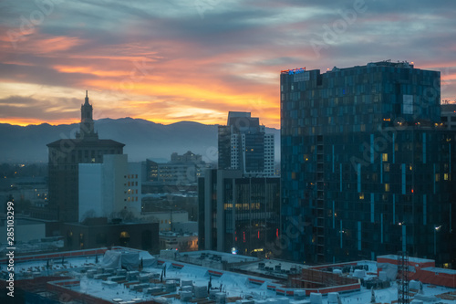 Photo  San Jose, California: Great Aerial view on Downtown City center during the sunset time