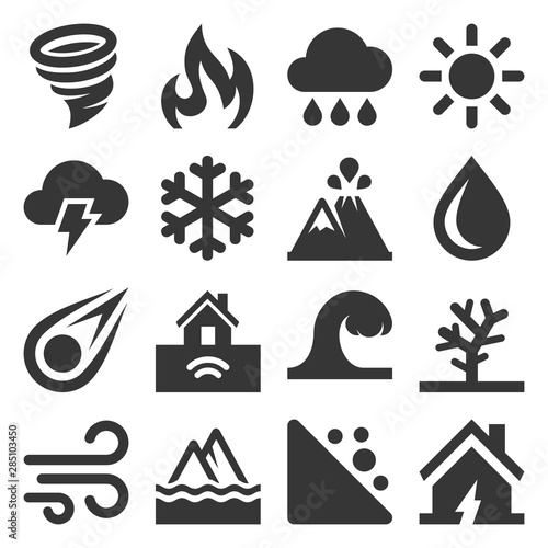 Natural Disaster Icons Set on White Background. Vector Fotobehang