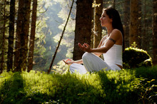 Young Woman Mediating In Forest