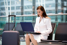 Business Woman Sitting In Airp...