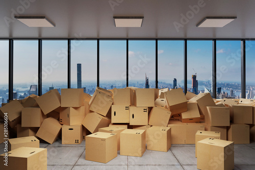 Fototapeta large industrial urban warehouse with large pile of cardboard moving boxes in front of Skyline, conceptual 3D Illustration obraz