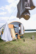 Germany, Leipzig, Ammelshainer See, Camping Trailer