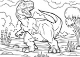 Fototapeta Dinusie - Cartoon tyrannosaurus coloring book