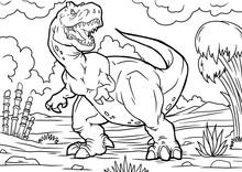 Cartoon Tyrannosaurus Coloring...
