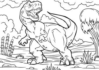 Cartoon tyrannosaurus coloring book