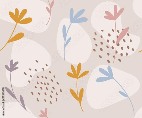 Fototapeten Künstlich Floral seamless pattern. Hand drawn flowers vector illustration.