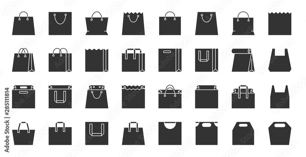 Fototapety, obrazy: Shopping eco bag black silhouette icons vector set
