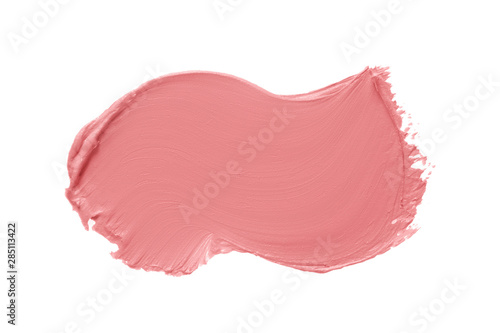Stickers pour portes Macro photographie Matte lipstick texture. Pink creamy makeup product smear smudge swatch isolated on white background. Cosmetic cream brush stroke sample