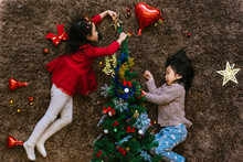 Two Adorable Girls Decorating ...