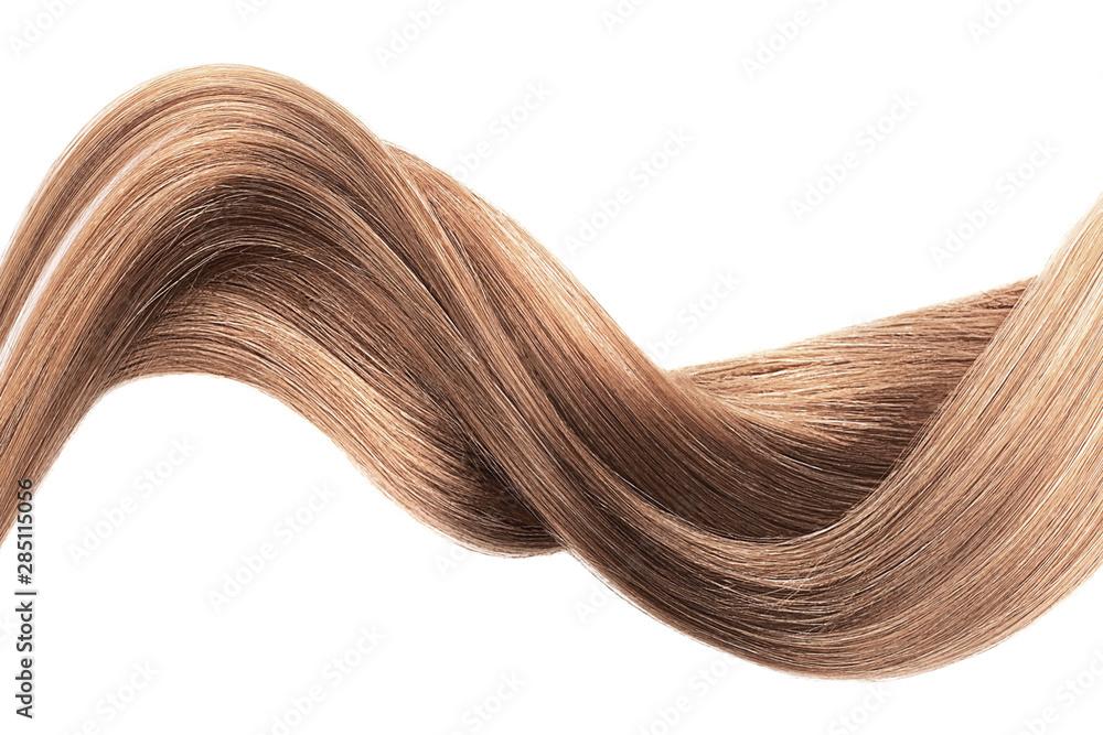 Fototapeta Brown shiny hair wave, isolated over white