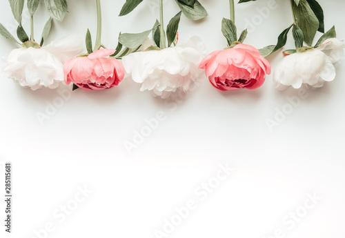 Fototapeta  White and pink peonies, horizontal flatlay