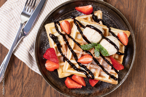 viennese waffles with strawberry Canvas Print
