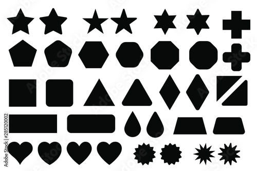 Basic shape elements with sharp and rounded edges vector set. Fototapet