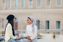 Two Muslim Women Enjoying Outdoors