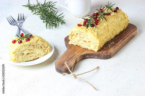 Fotografie, Obraz  cake napoleon Poleno on white background