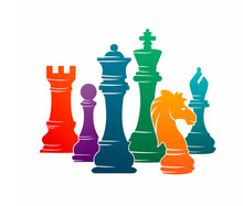 Chess Colorful Figures Pieces Tournament Game Vector Illustration