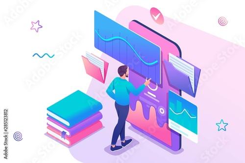 koncepcja-izometryczna-mezczyzna-oglada-lekcje-na-stronie-internetowej-szkolenie-online-e-learning-aplikacja-mobilna-na-szkolenie-koncepcja-projektowania-stron-internetowych