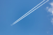Jet Trail In A Clear Blue Sky