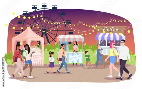 Stampa su Tela  Night fair flat vector illustration