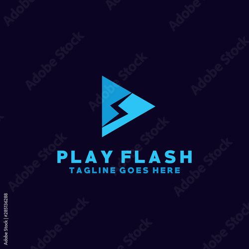 Obraz Play Flash Logo Vector Design Template. Media and Player Icon. Thunder And Modern Symbol. - fototapety do salonu