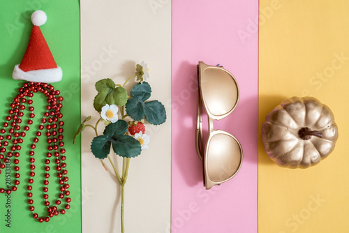 Fototapeta  Creative season layout of colorful summer, spring, autumn and winter leaves and flowers