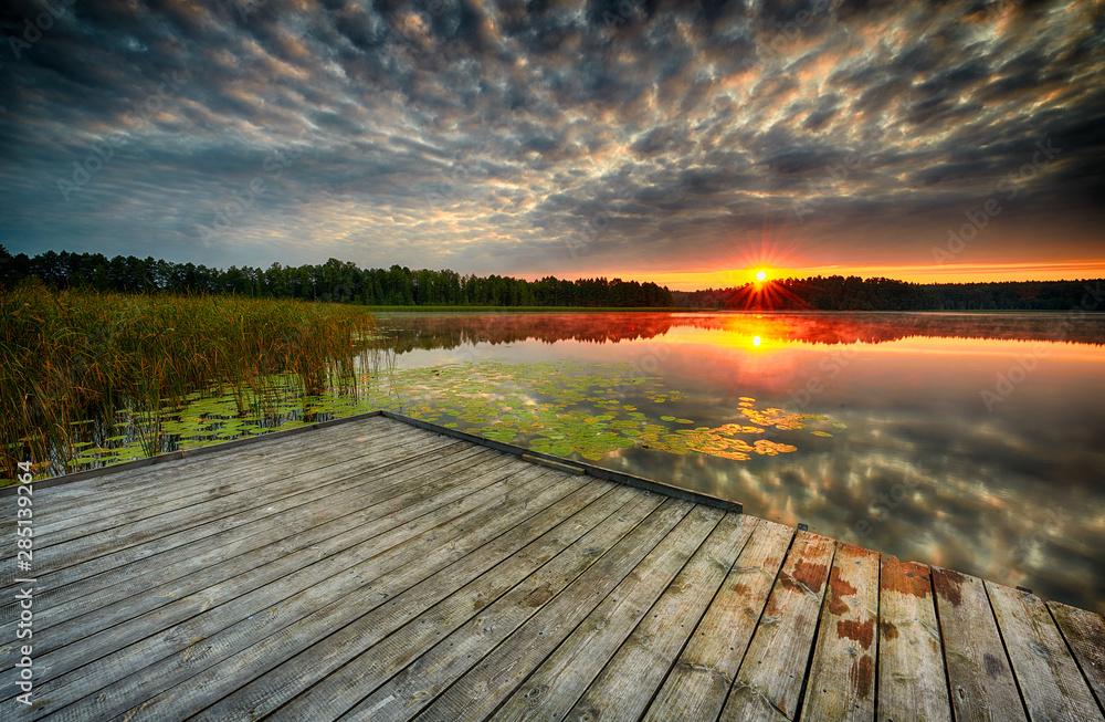 Fototapety, obrazy: Beautiful summer sunrise over lake