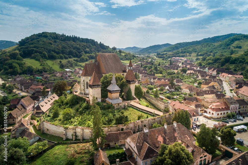 Fototapeta Aerial view of Biertan fortified church in Biertan village, Transylvania, Romania.